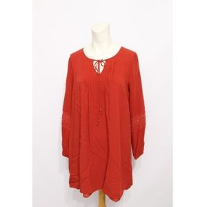 anthropologie Red Lace Sleeves Lined Cotton Tunic
